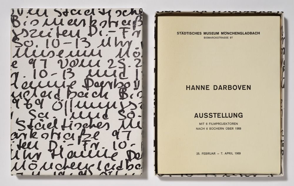 Hanne Darboven. Exhibition with 6 movie projects according to 6 books about 1968. Mönchengladbach State Museum, from 25 February to 7 April 1969