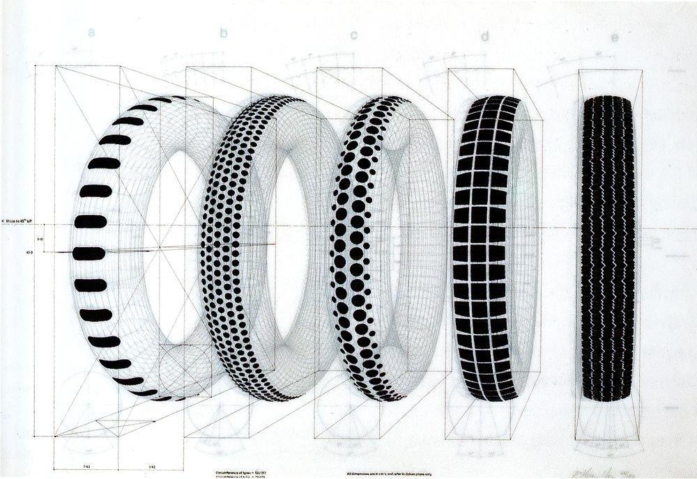 Cinco neumáticos recauchutados (porfolio)