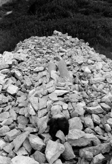 Relaciones. Relación del cuerpo con elementos naturales. El cuerpo cubierto de piedras