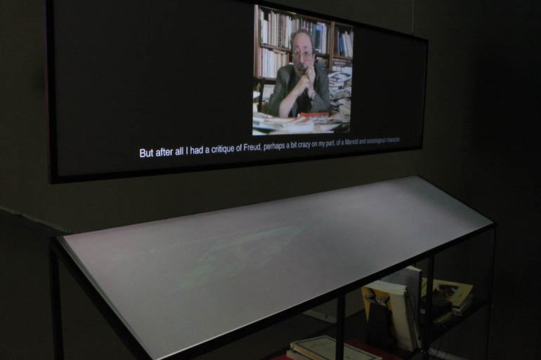 "'Déconnage', Angela Melitopoulos and Maurizio Lazzarato. Installation view from the exhibition ""Animism"" at Haus Der Kulturen Der Welt (HKW), Berlin, 2012. © Angela Anderson"