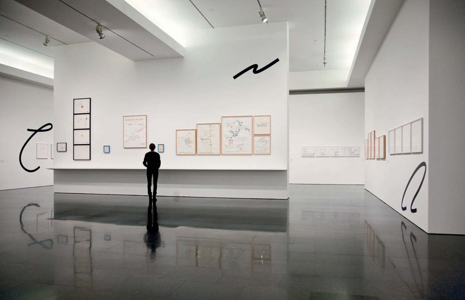 """Lawrence Weiner's """"Written on the Wind"""" exhibition view, 2013"""