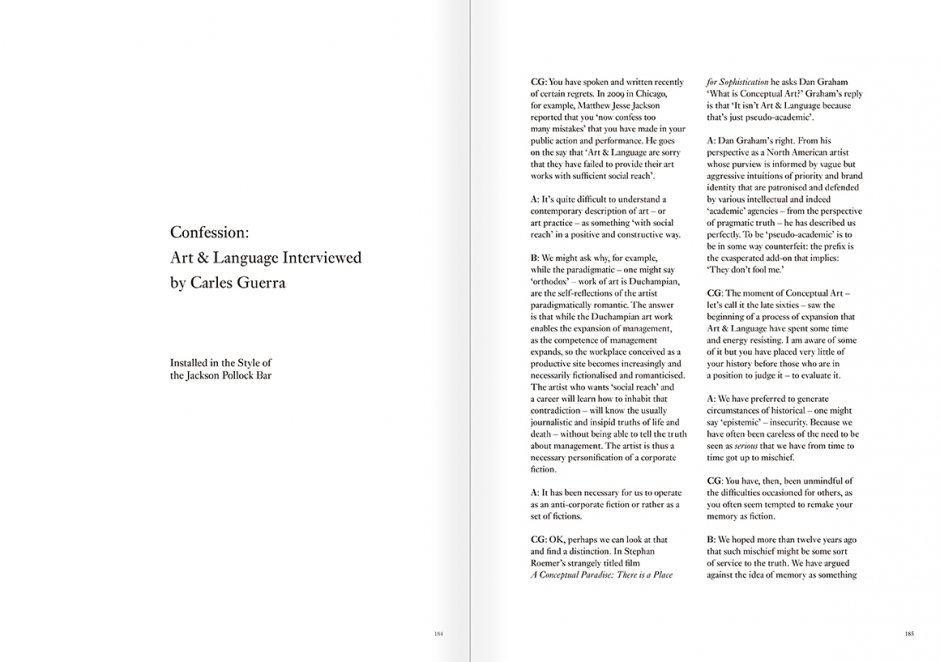 Selection from the catalogue 'Art & Language. Uncompleted', pages 184 and 185