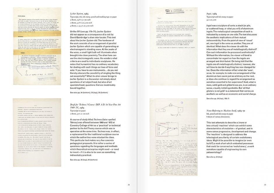 """Selección del catálogo """"Art & Language. Incompleto"""", páginas 34 y 35"""