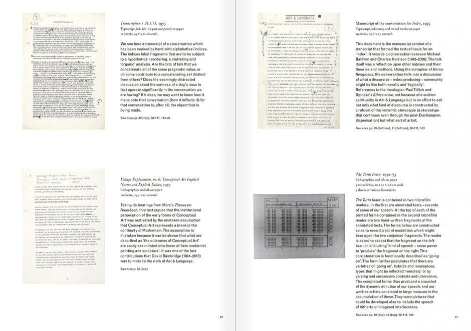 """Selección del catálogo """"Art & Language. Incompleto"""", páginas  40 y 41"""