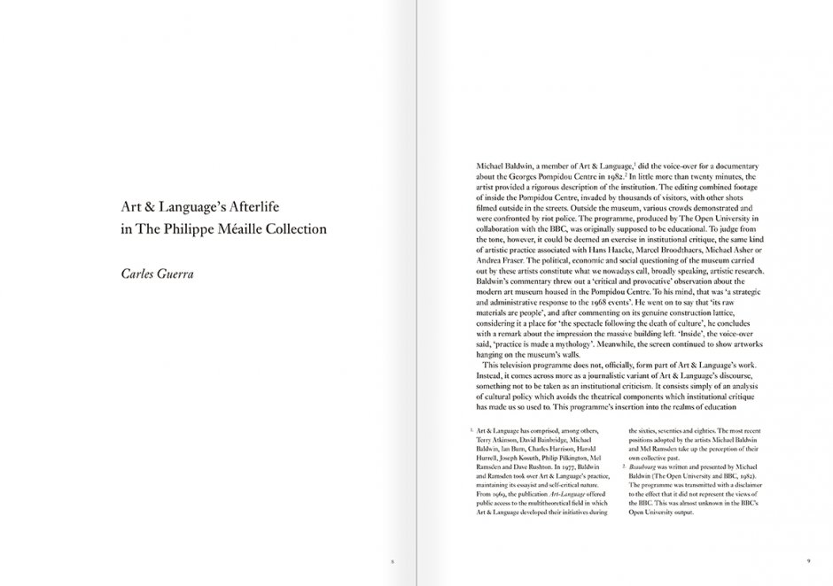 Selection from the catalogue 'Art & Language. Uncompleted', pages 8 and 9