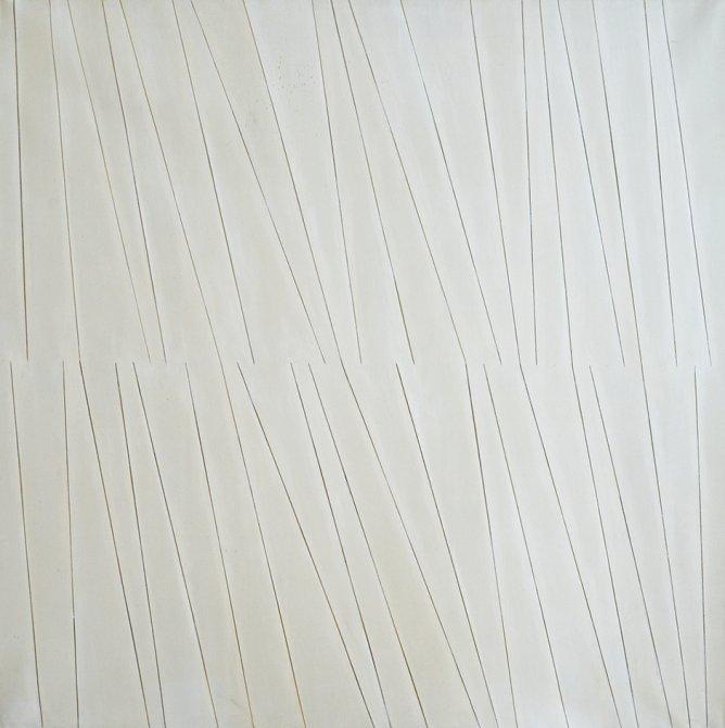 """Rosemarie Castoro """"Graphite White Raw"""", 1968"""