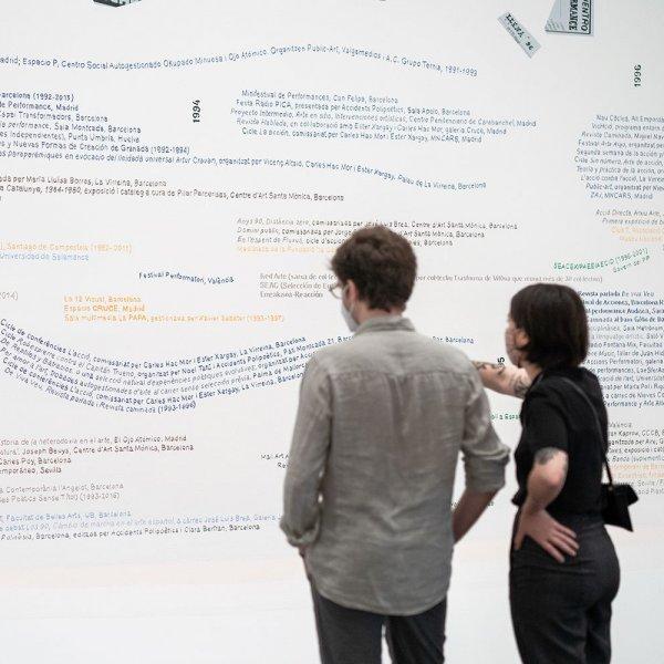 """Vistas de sala de la exposición """"Acción. Una historia provisional de los 90"""". Foto: Miquel Coll"""