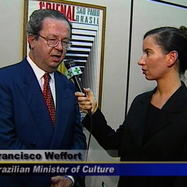 "Andrea Fraser ""Reporting from Sao Paulo, I'm from the United States"", 1998"