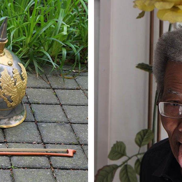 Esquerra; objectes per l'acció de Ben Patterson. Dreta; Ben Patterson accionan el logo Inca-Fluxus. Fotos: Joan Casellas Arxiu Aire.