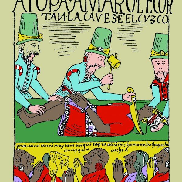 """Imagen adaptada de """"A Topa Amaro le cortan la cavesa en el Cvzco"""". Felipe Guaman Poma de Ayala. Nueva Primer Corónica y Buen Gobierno. 1615"""
