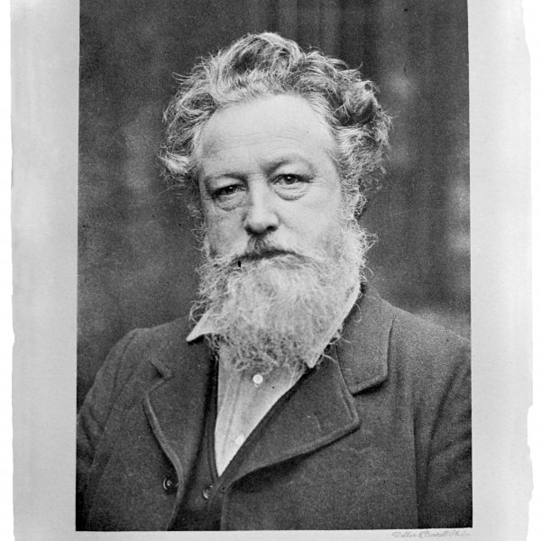 Portrait of William Morris. Photograph of an unknown publication, reproduction form a photoengraving of Walker & Boutall, Ph. Soc. London, 1909 (on photograph taken around 1887). Archive of the Museo Nacional de Artes Decorativas, Madrid (negative on glass FD11978)