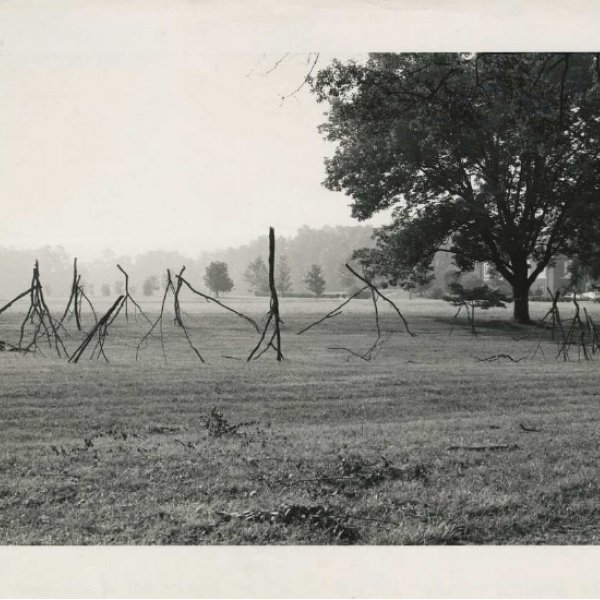 "Rosemarie Castoro,""Georgia Branch Dance"" installation view at Mt. Berry, Georgia, July 16th, 1974. Courtesy of the Estate of Rosemarie Castoro and BROADWAY 1602, Harlem, New York"