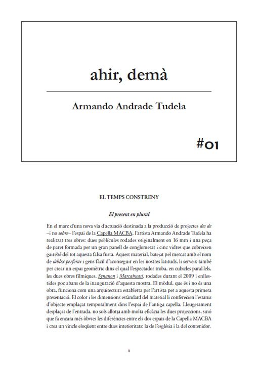 #01 Armando Andrade Tudela. ahir, demà