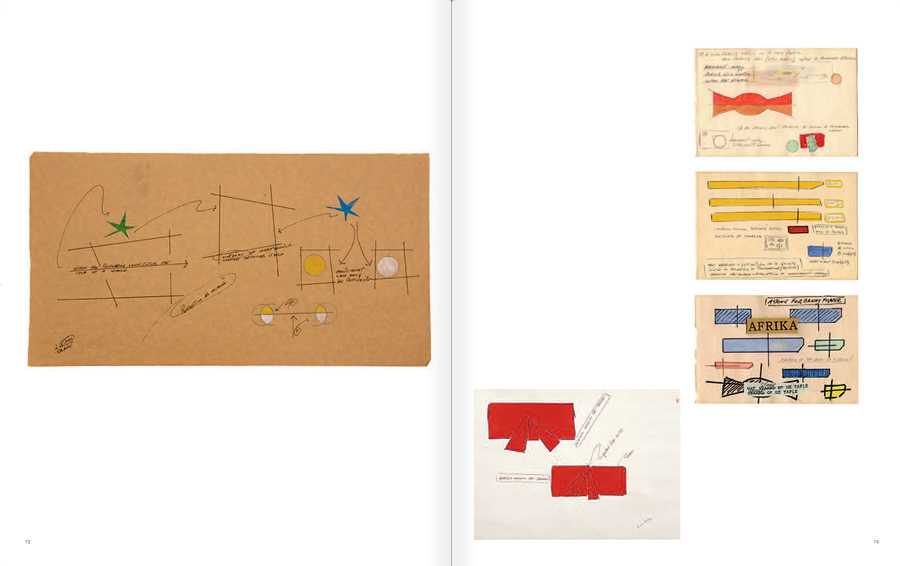 """Selecció del catàleg """"WRITTEN ON THE WIND. Lawrence Weiner Drawings"""", pàgines 72 i 73"""