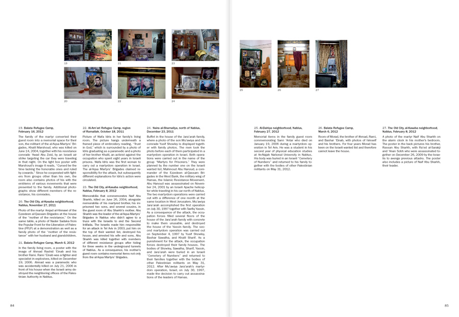 "Selection from the catalogue Ahlam Shibli: Phantom Home"", pages 84 and 85"