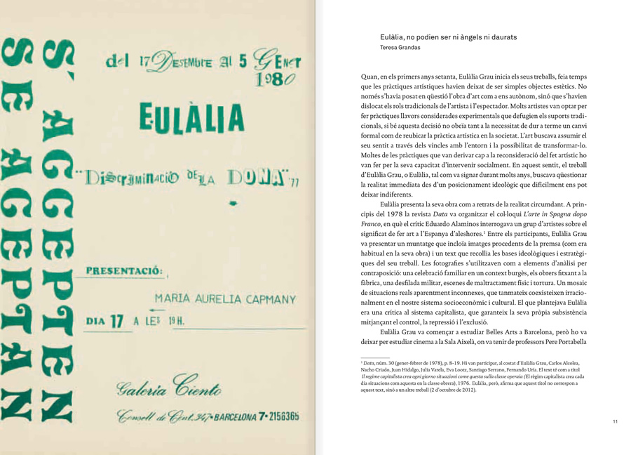"Selection from the catalogue ""Eulàlia Grau. Mai no he pintat àngels daurats"", pages 10 and 11"