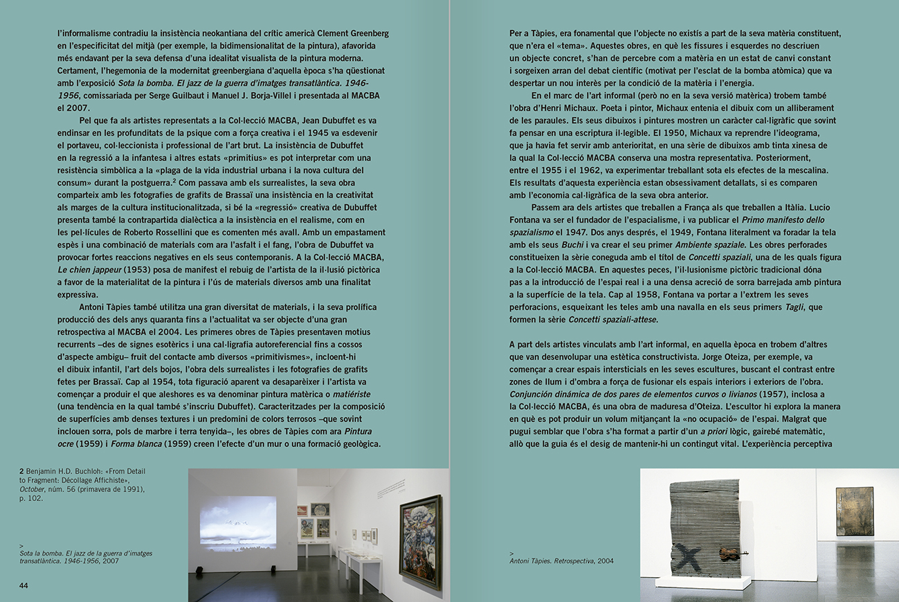 Selection from the catalogue 'Relational Objects. MACBA Collection 2002-07', pages 44 and 45