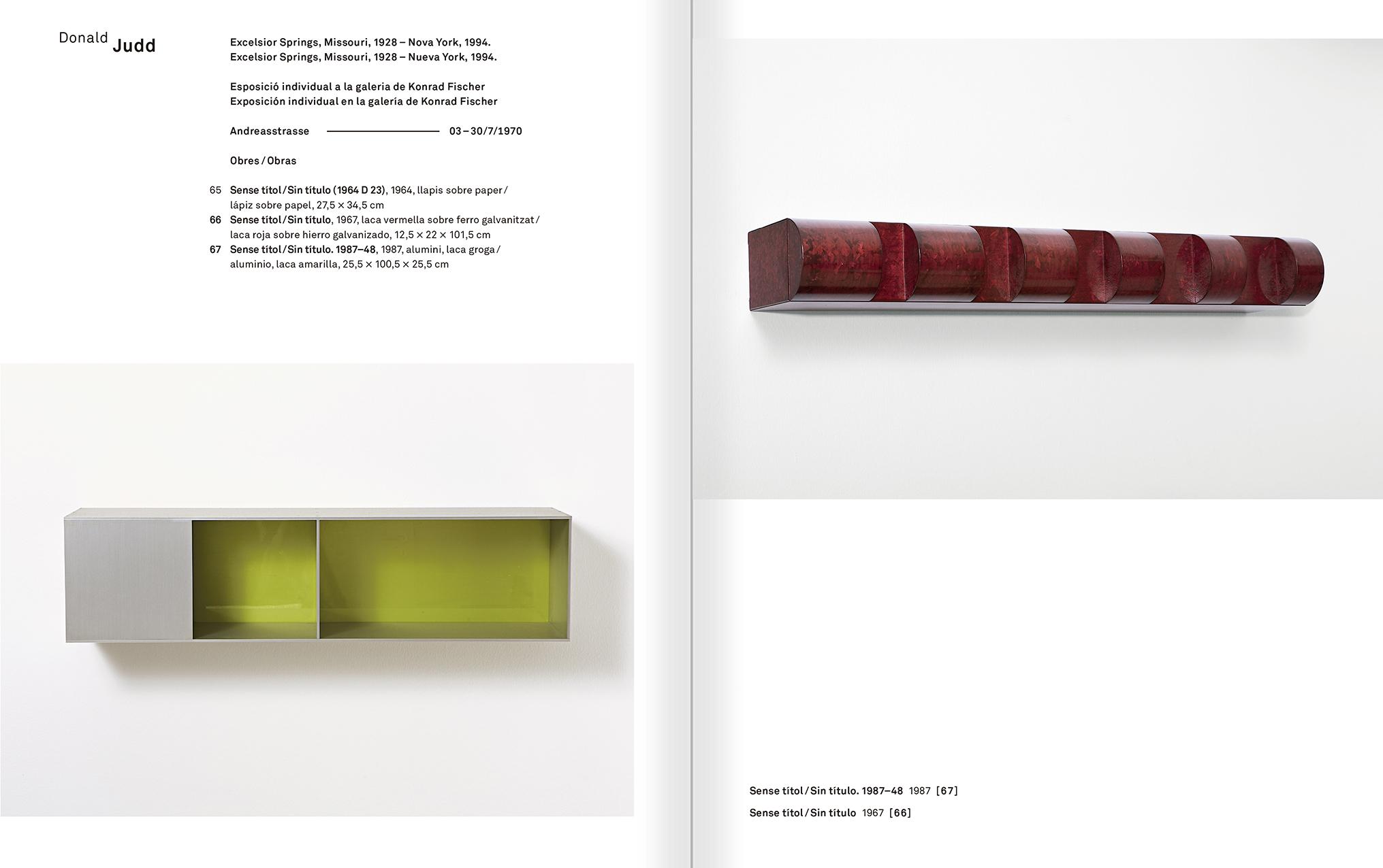 """Selecció del catàleg """"Amb la probabilitat de ser vist. Dorothee i Konrad Fischer: Arxius d'una actitud"""" pàgines 218 i 219"""