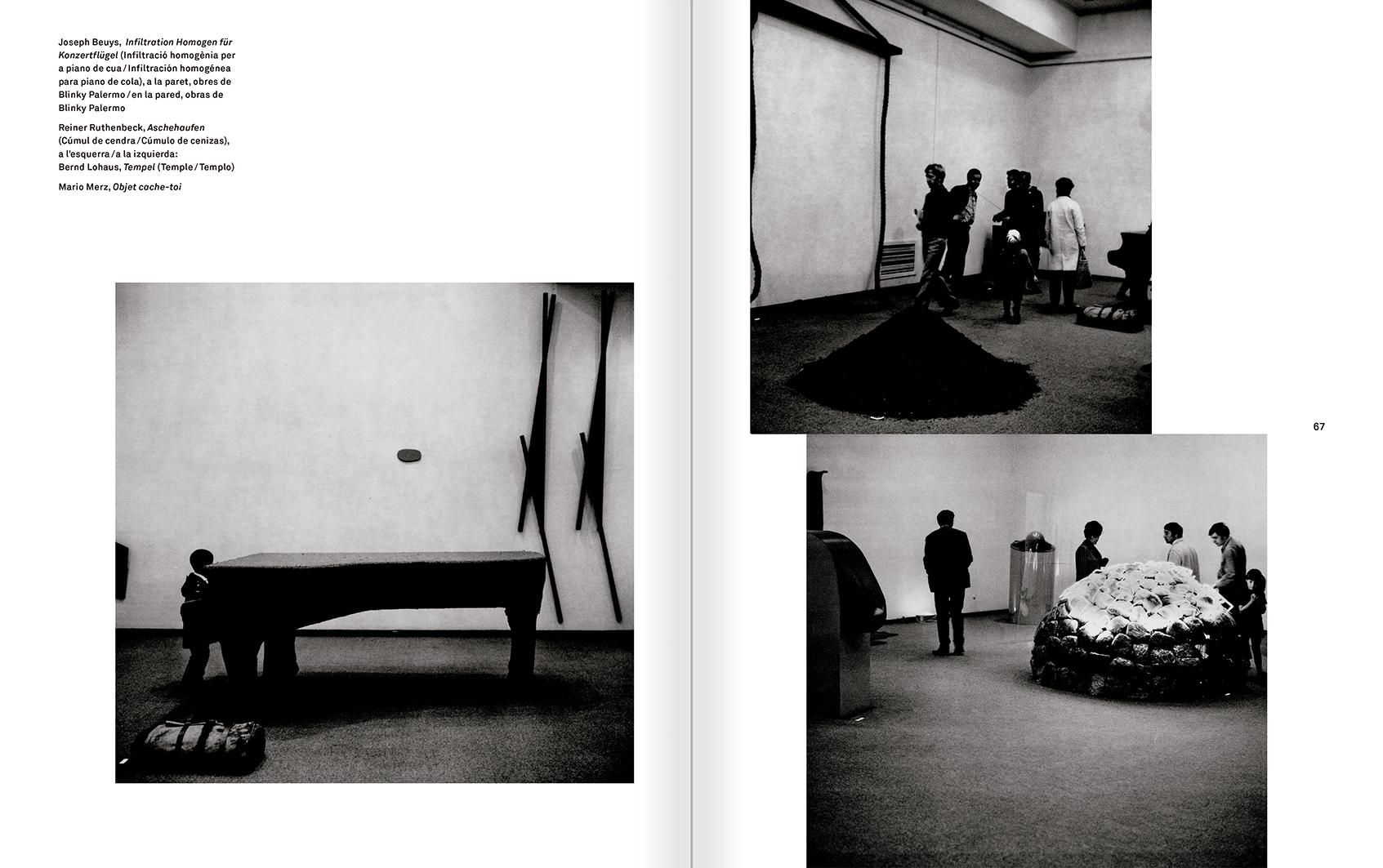 """Selecció del catàleg """"Amb la probabilitat de ser vist. Dorothee i Konrad Fischer: Arxius d'una actitud"""" pàgines 66 i 67"""