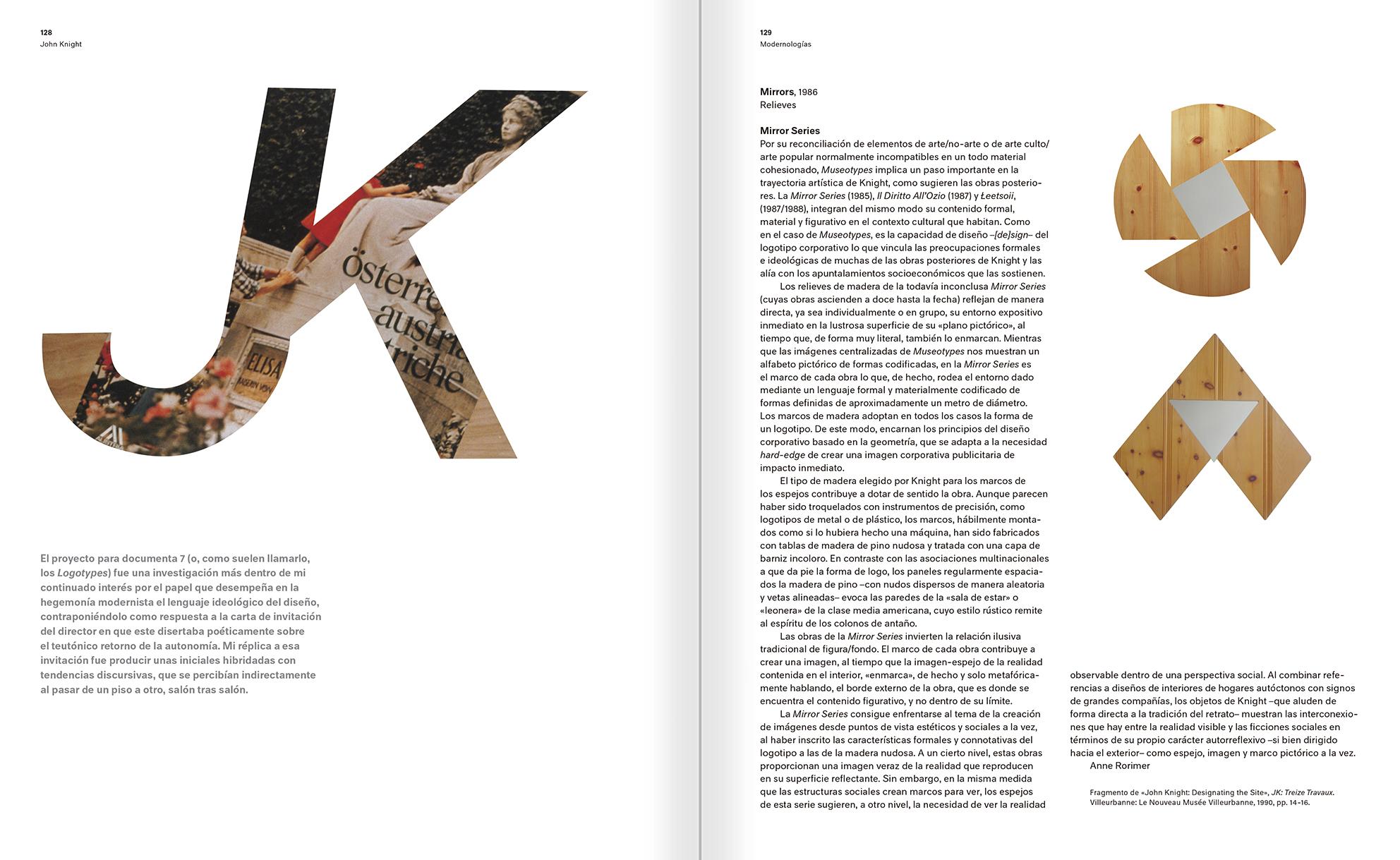 """Selección del catálogo """"Modernologías. Artistas contemporáneos investigan la modernidad y el modernismo"""" páginas 128 y 129"""