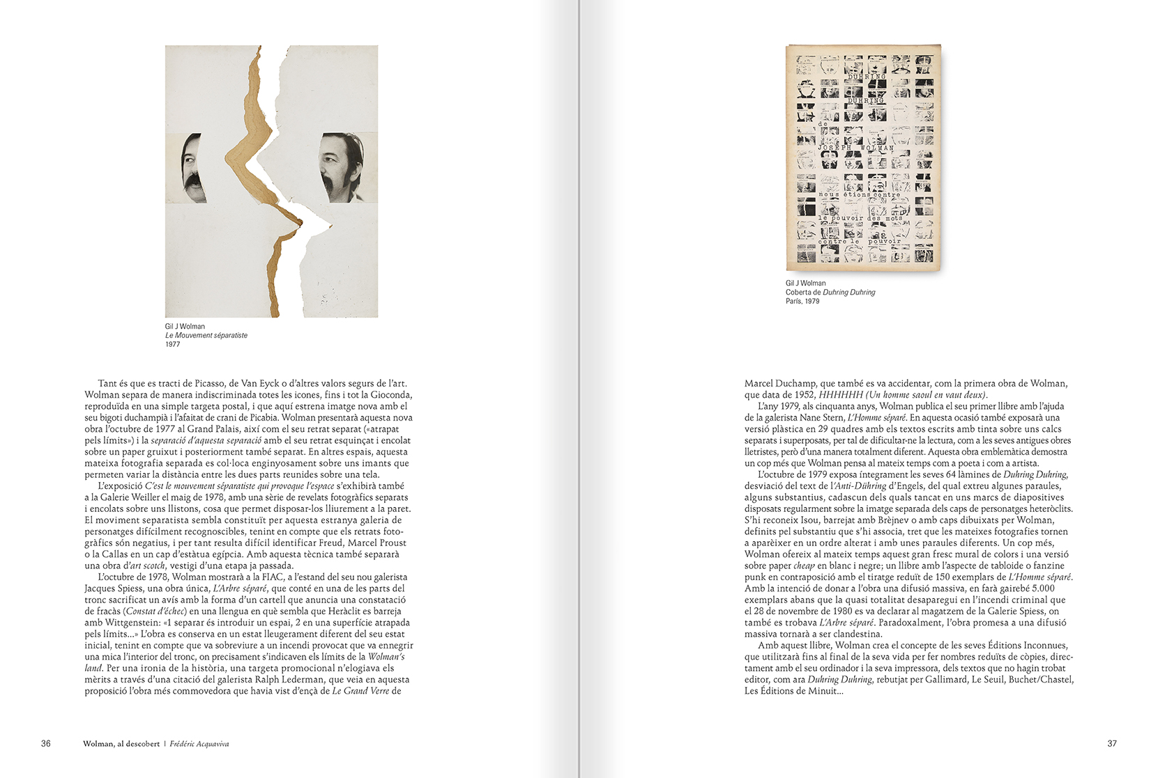 """Selecció del catàleg """"Gil J Wolman. Sóc inmortal i estic viu"""" pàgines 36 i 37"""