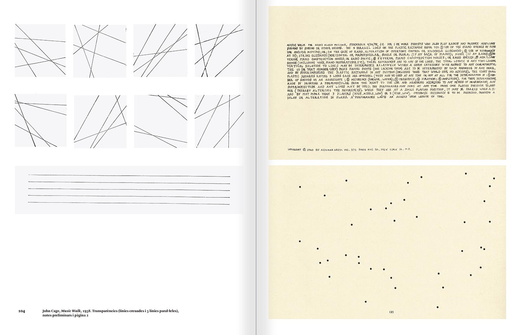 """Selecció del catàleg """"L'anarquia del silenci. John Cage i l'art experimental"""" pàgines 104 i 105"""