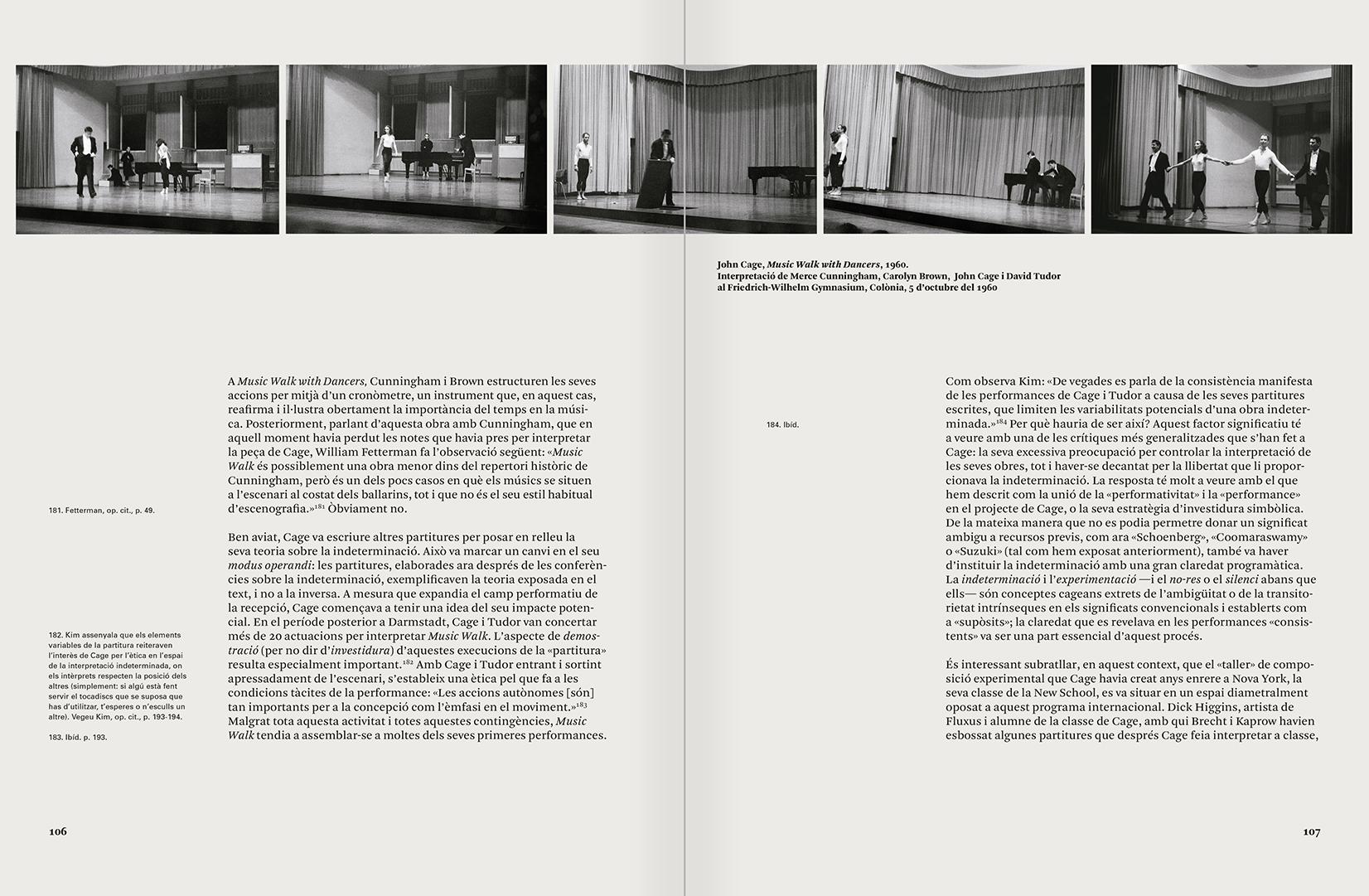 """Selecció del catàleg """"L'anarquia del silenci. John Cage i l'art experimental"""" pàgines 106 i 107"""