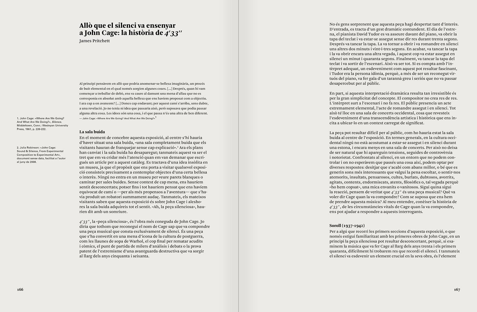 """Selecció del catàleg """"L'anarquia del silenci. John Cage i l'art experimental"""" pàgines 166 i 167"""
