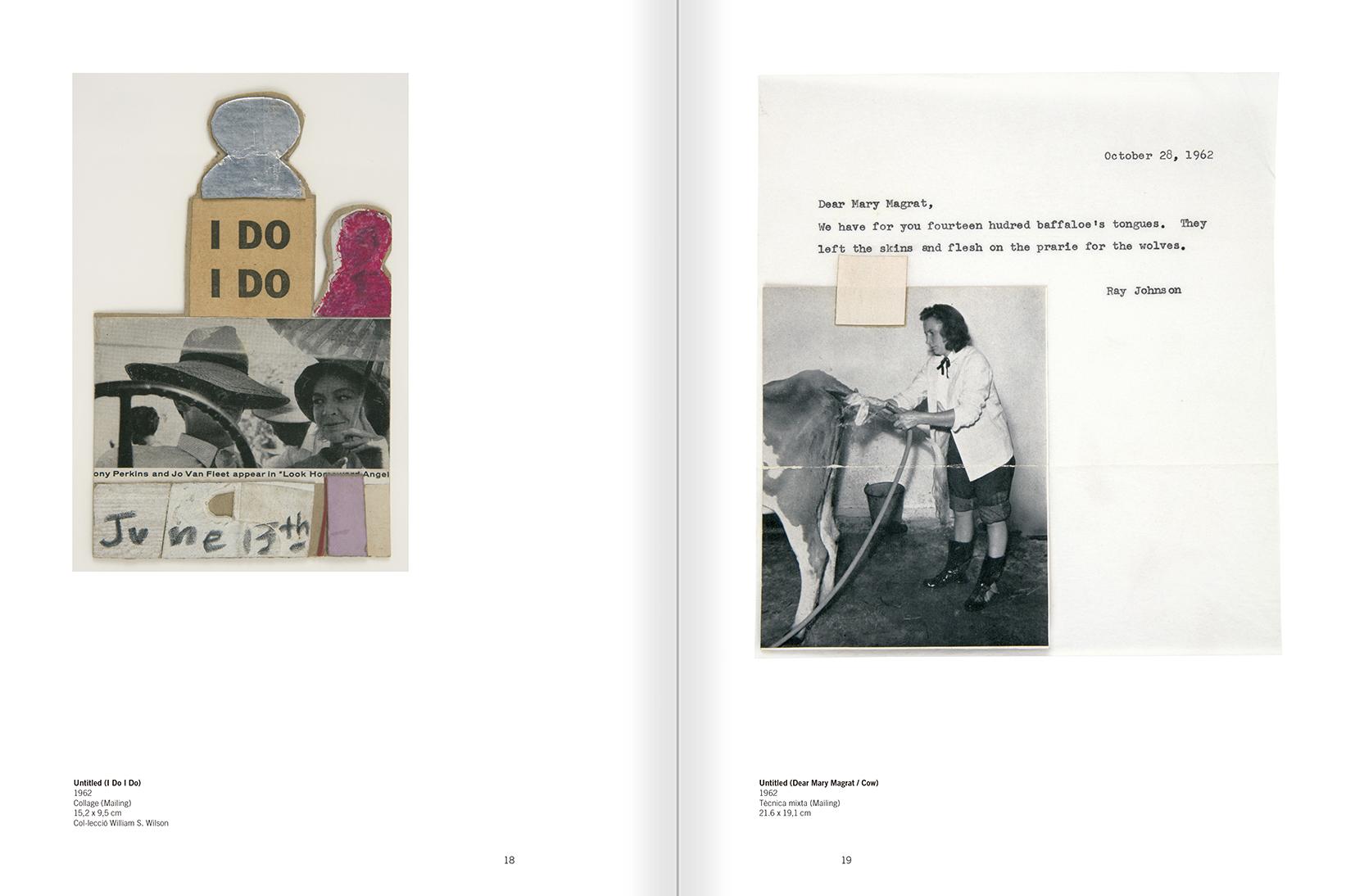 """Selecció del catàleg """"Ray Johnson. Please Add To & Return"""" pàgines 18 i 19"""