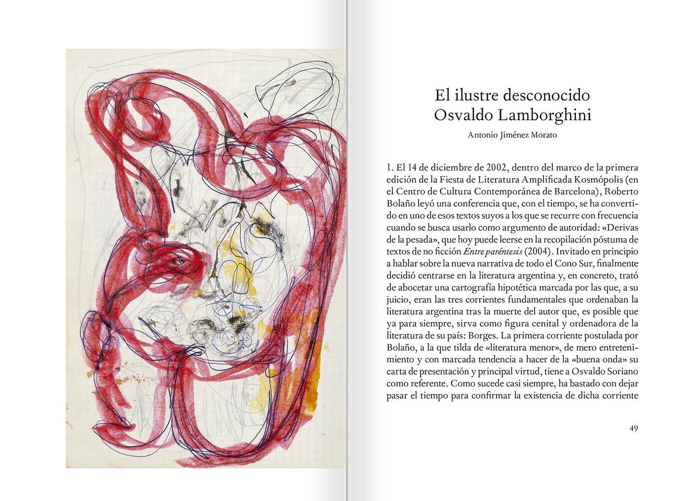 """Selecció del catàleg """"El sexo que habla. Osvaldo Lamborghini"""" pàgines 48 i 49"""