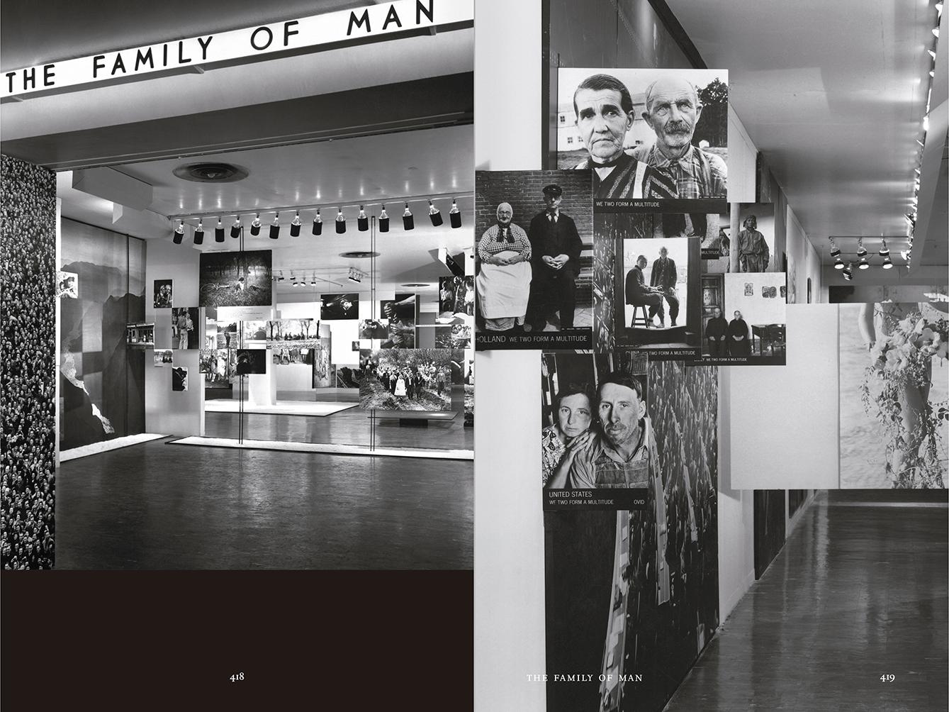 """Selección del catálogo """"Espacios fotográficos públicos. Exposiciones de propaganda, de Pressa a The Family of Man, 1928-1955"""" páginas 418 y 419"""