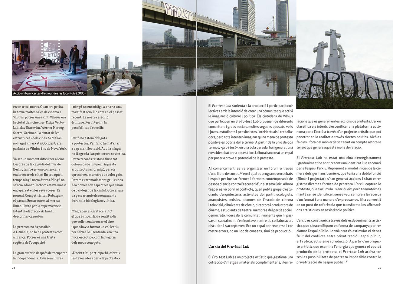 """Selecció del catàleg """"Nomeda & Gediminas Urbonas. Dispositius per a l'acció"""" pàgines 74 i 75"""