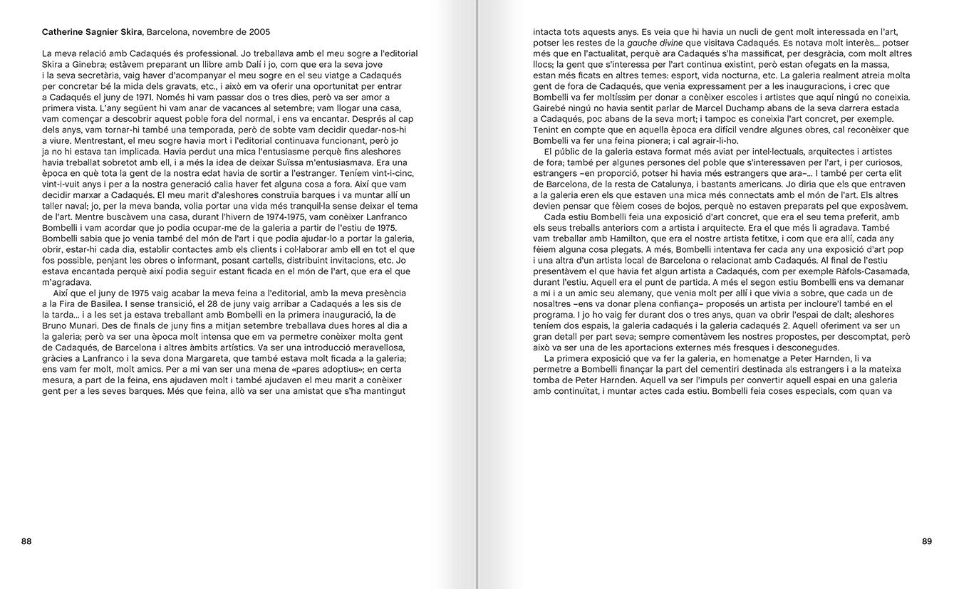 """Selecció del catàleg """"Galeria Cadaqués. Obres de la Col·lecció Bombelli"""" pàgines 88 i 89"""