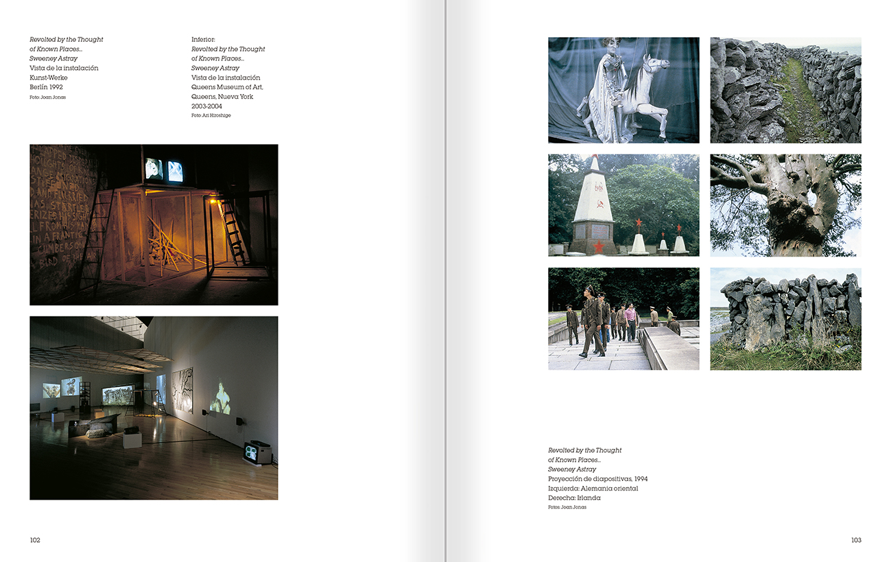 Selection from the catalogue 'Joan Jonas. Timelines: Transparencies in a Dark Room', pages 102 and 103