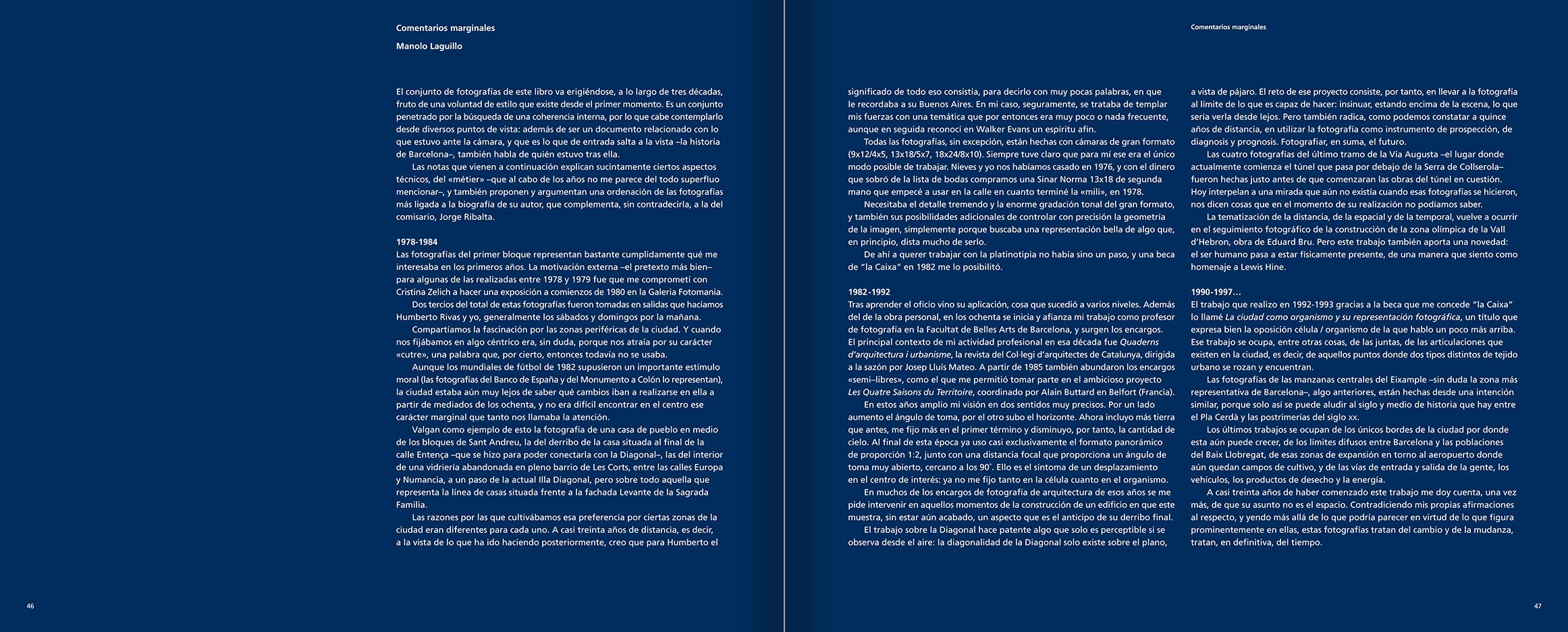 """Selecció del catàleg """"Barcelona 1978-1997. Manolo Laguillo"""" pàgines 46 i 47"""