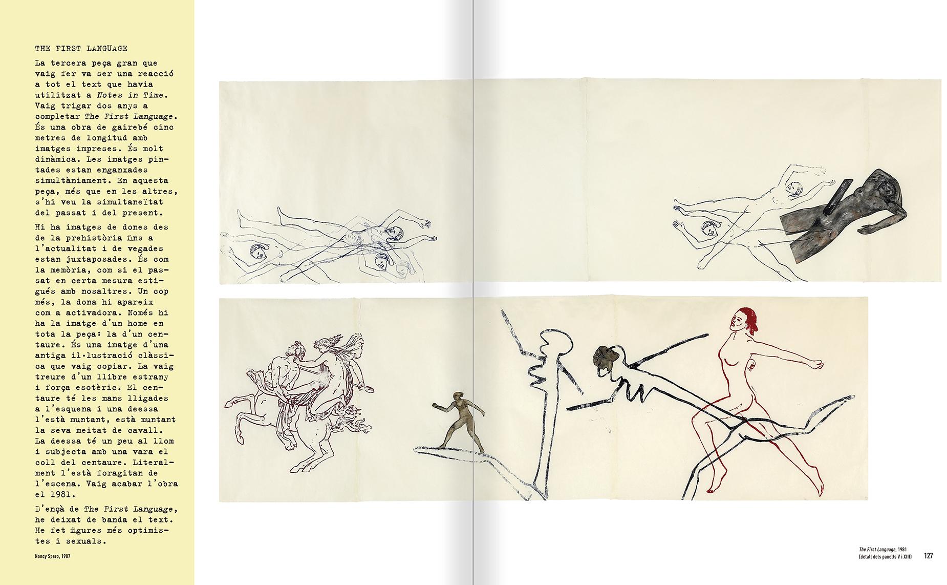 """Selecció del catàleg """"Nancy Spero. Dissidanses"""" pàgines 126 i 127"""