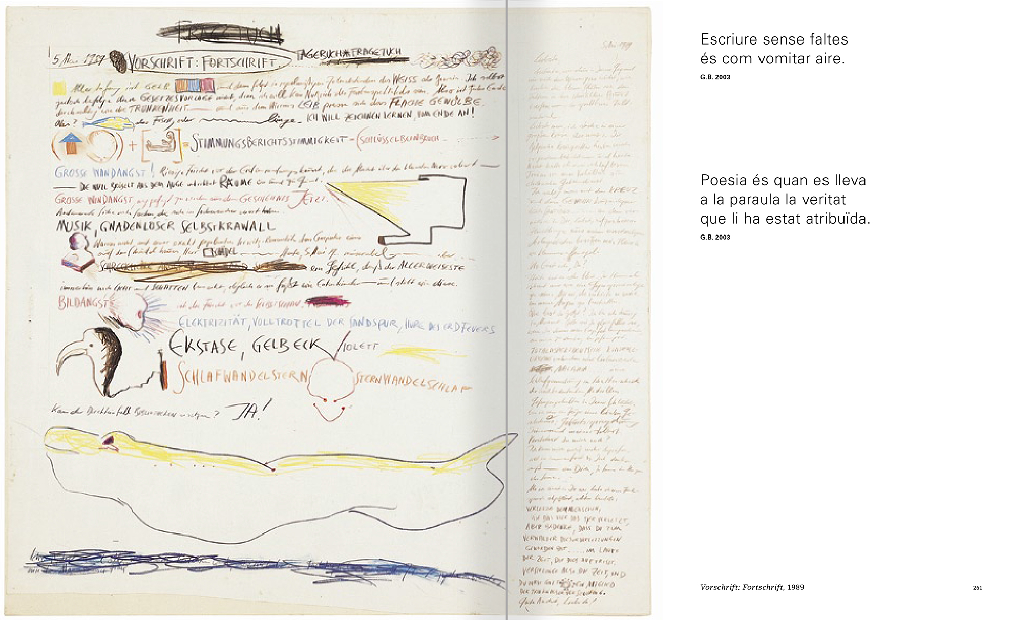 Selection from the catalogue 'Günter Brus. Nervous stillness on the horizon', pages 260 and 261
