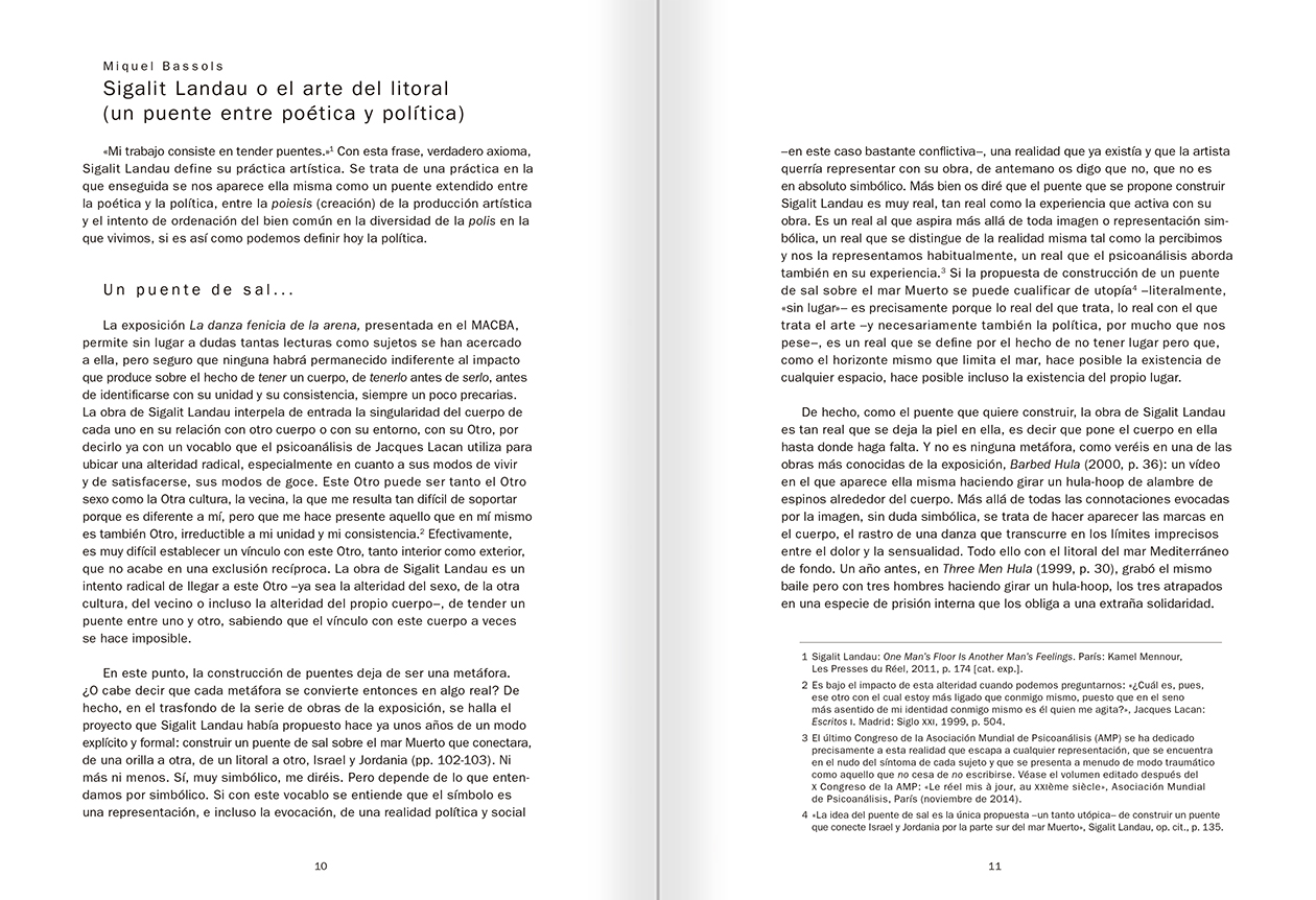 """Selección del catálogo """"La danza fenicia de la arena / Phoenician Sand Dance. Sigalit Landau"""", páginas 10 y 11"""