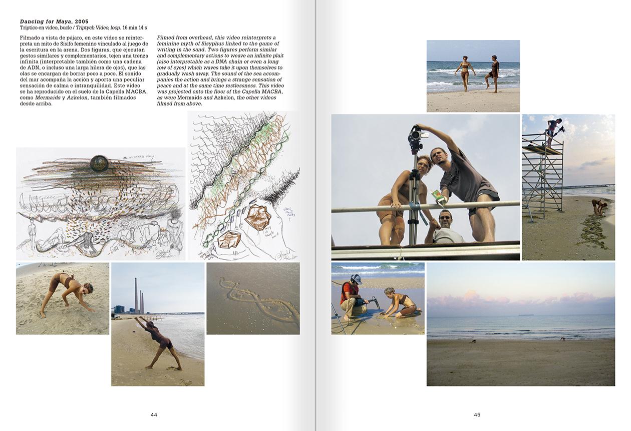 """Selección del catálogo """"La danza fenicia de la arena / Phoenician Sand Dance. Sigalit Landau"""", páginas 44 y 45"""