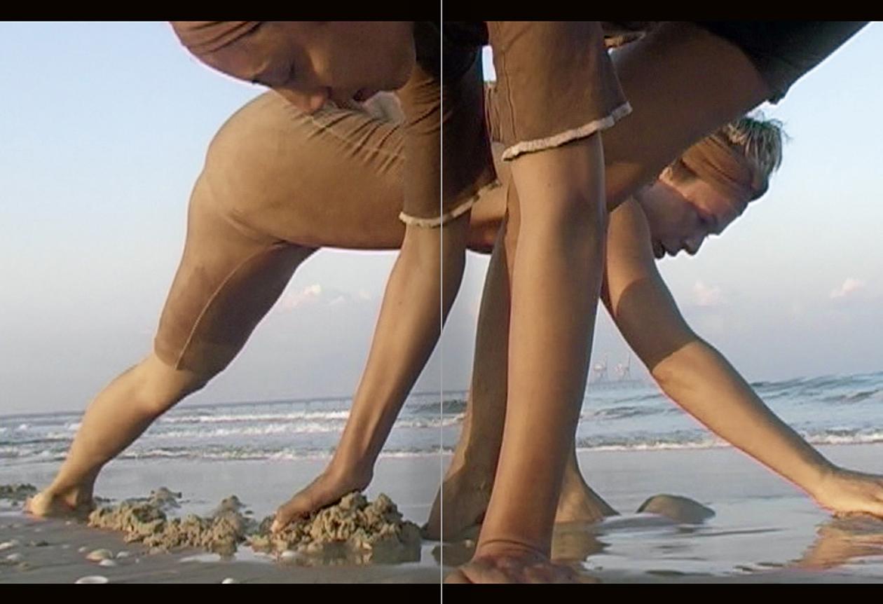 """Selecció del catàleg """"La danza fenicia de la arena / Phoenician Sand Dance. Sigalit Landau"""", pàgines 56 i 57"""