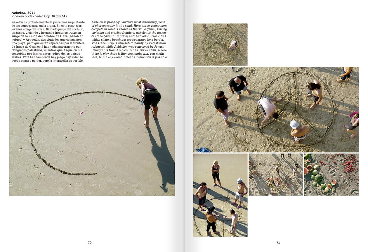"""Selección del catálogo """"La danza fenicia de la arena / Phoenician Sand Dance. Sigalit Landau"""", páginas 70 y 71"""