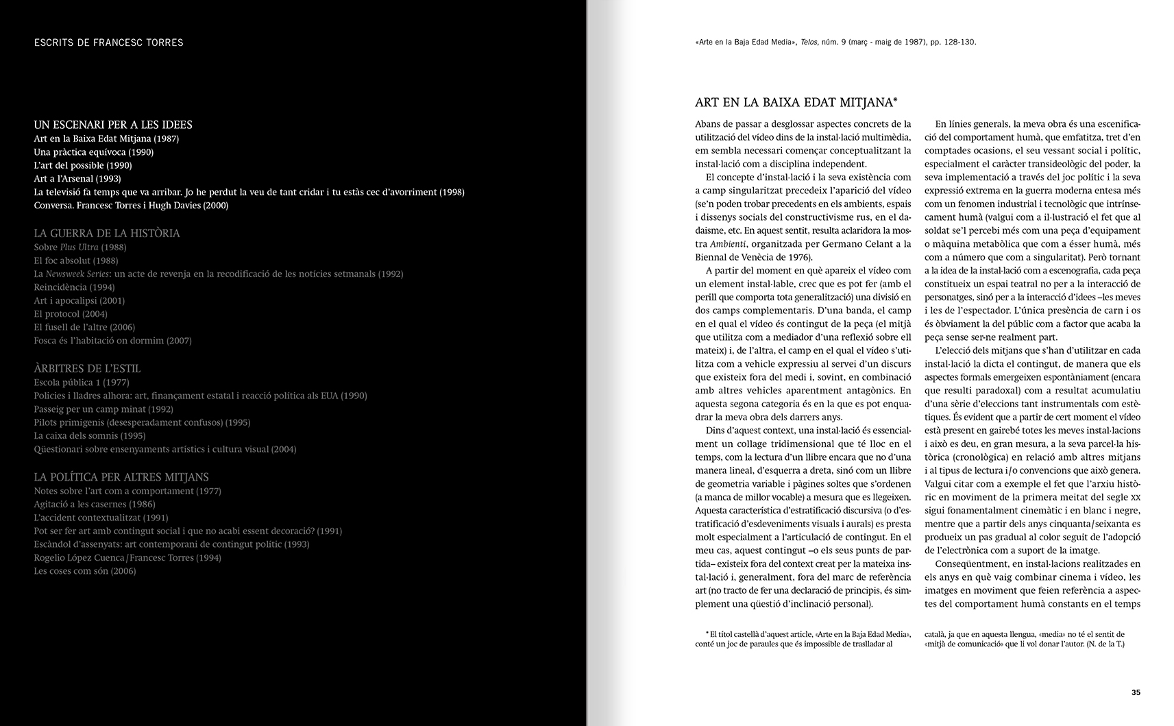 Selection from the catalogue 'Francesc Torres. Da capo', pages 34 and 35