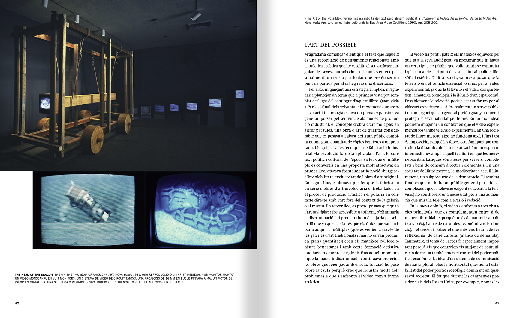 Selection from the catalogue 'Francesc Torres. Da capo', pages 42 and 43