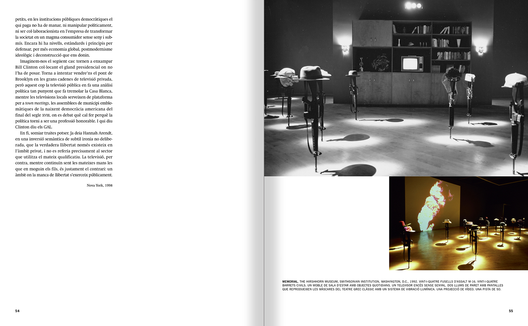 Selection from the catalogue 'Francesc Torres. Da capo', pages 54 and 55