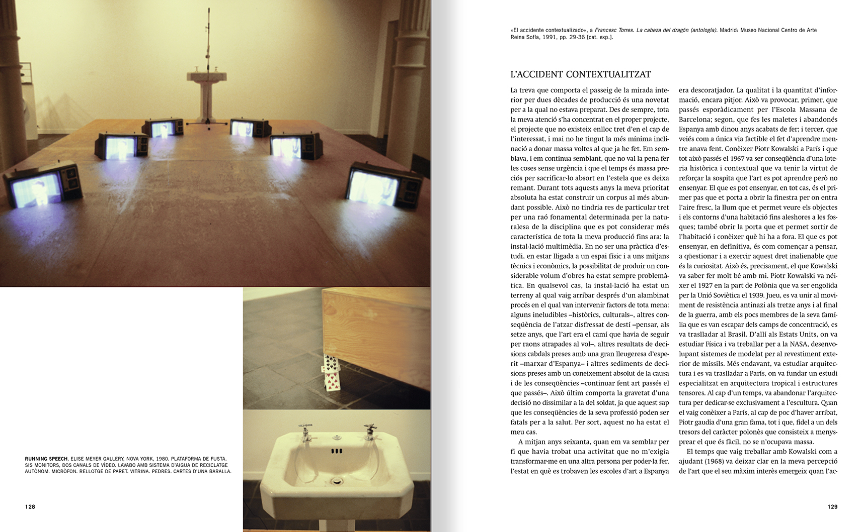 Selection from the catalogue 'Francesc Torres. Da capo', pages 128 and 129