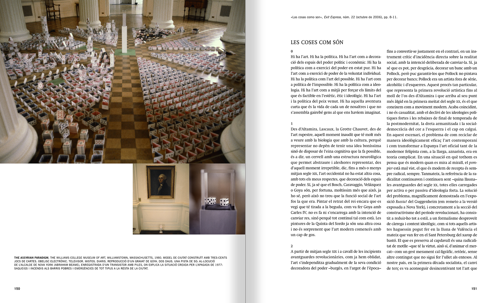 Selection from the catalogue 'Francesc Torres. Da capo', pages 150 and 151