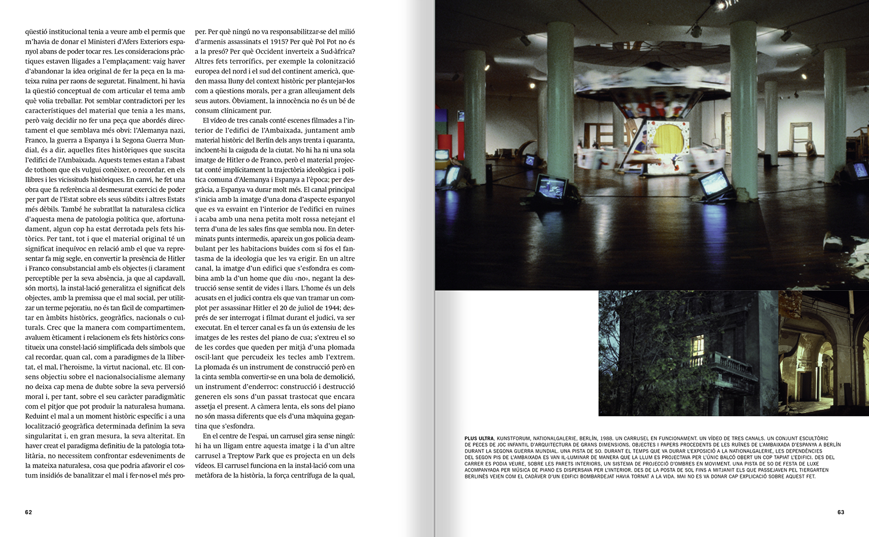 Selection from the catalogue 'Francesc Torres. Da capo', pages 62 and 63