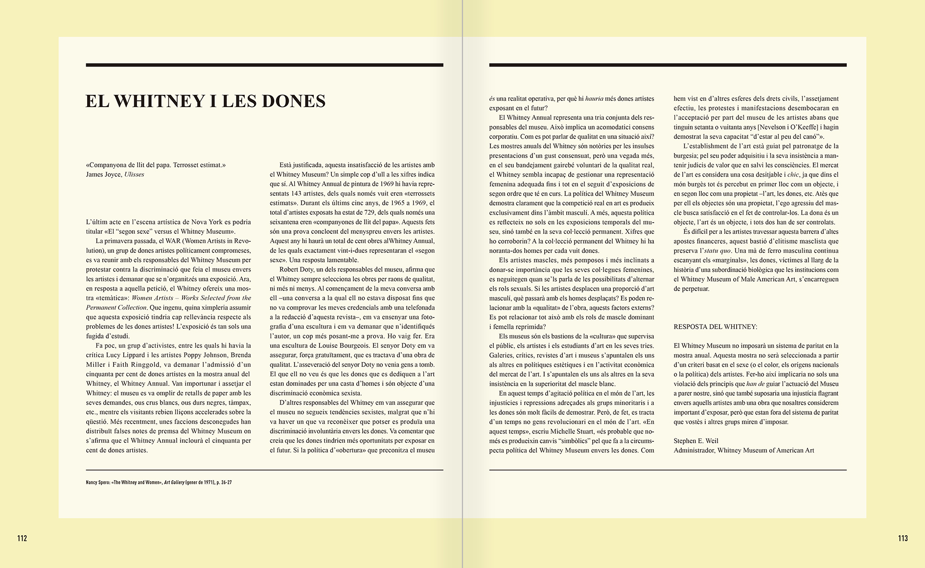 """Selecció del catàleg """"Nancy Spero. Dissidanses"""" pàgines 106 i 107"""