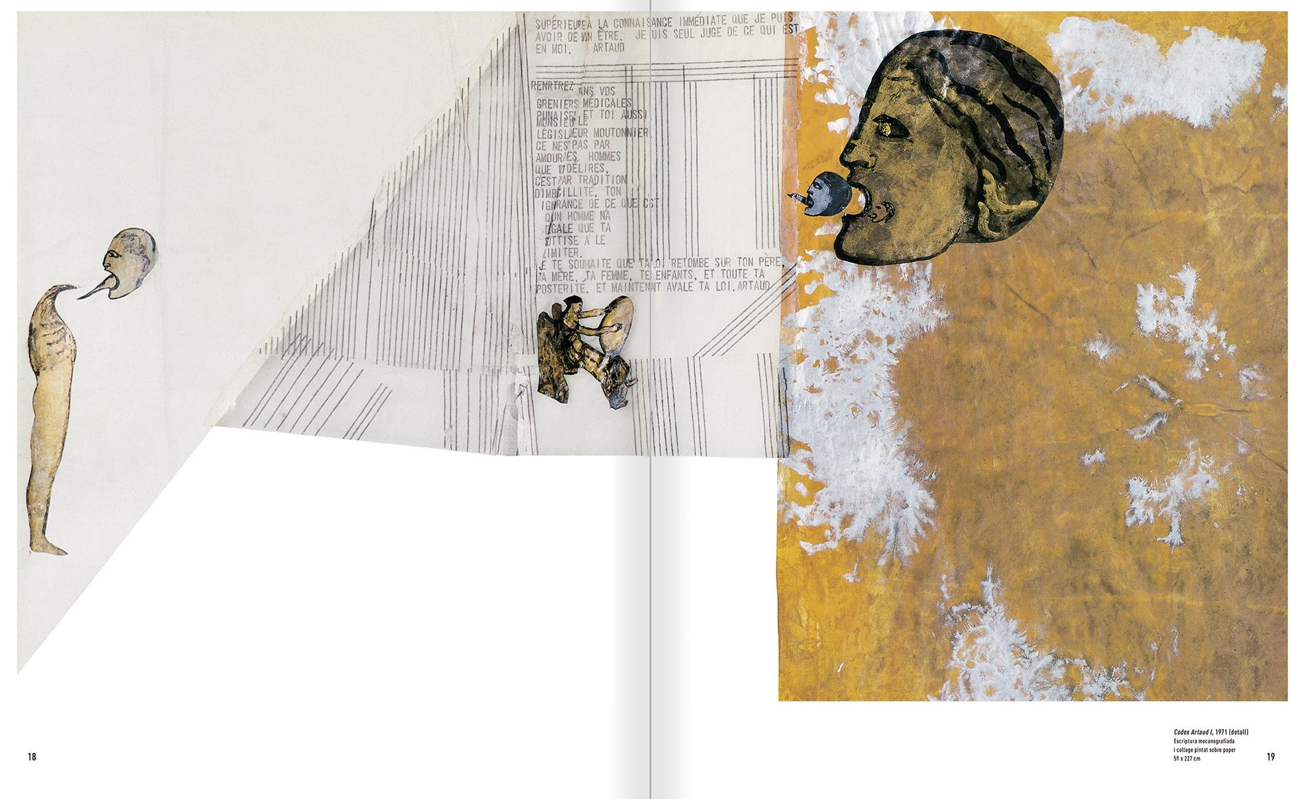 """Selecció del catàleg """"Nancy Spero. Dissidanses"""" pàgines 18 i 19"""