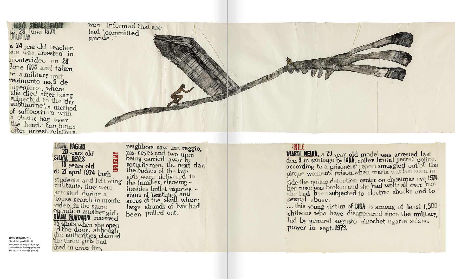 """Selecció del catàleg """"Nancy Spero. Dissidanses"""" pàgines 66 i 67"""